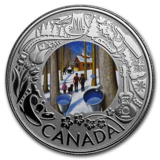 2019 Canada 1/4 oz Ag $3 Celebrating Canadian Fun: Maple Syrup
