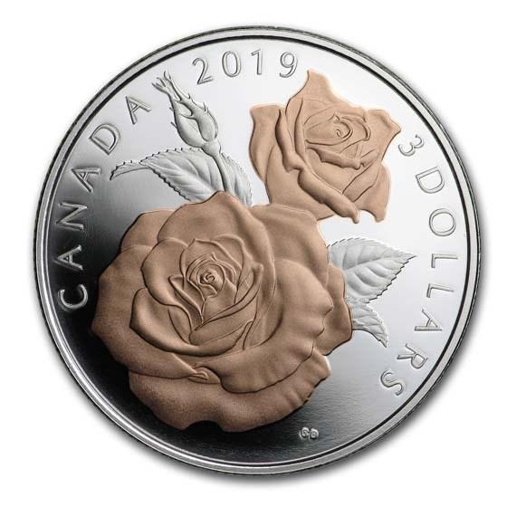 2019 Canada 1/4 oz Silver $3 Queen Elizabeth Rose Proof