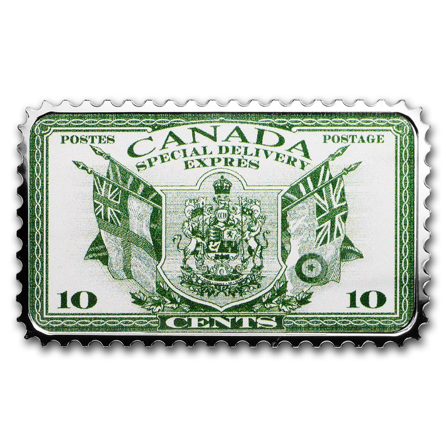 2019 Canada 1 oz Ag $20 Historical Stamps: Coat of Arms & Flags
