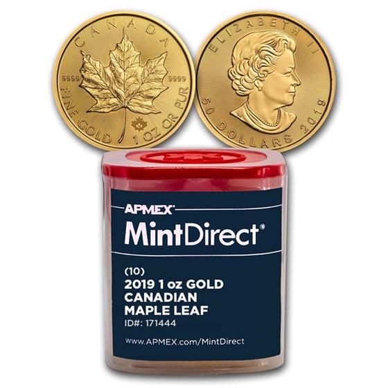 2019 Canada 1 oz Gold Maple Leaf (10-Coin MintDirect® Tube)