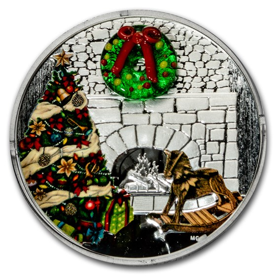 2019 Canada 1 oz Silver $20 Holiday Wreath