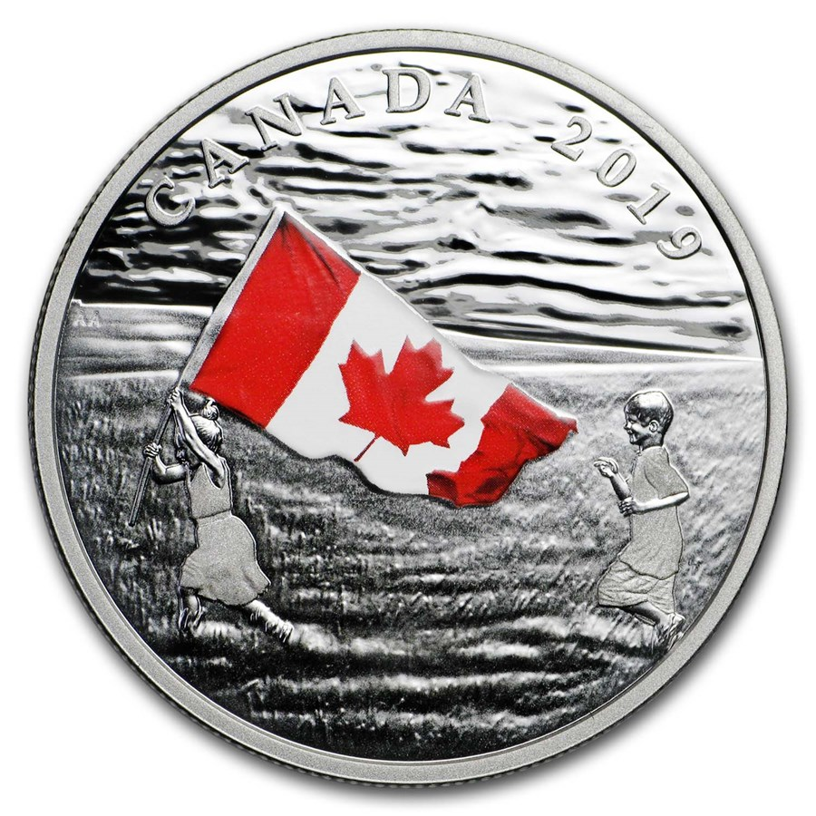2019 Canada 1 oz Silver $20 The Canadian Flag