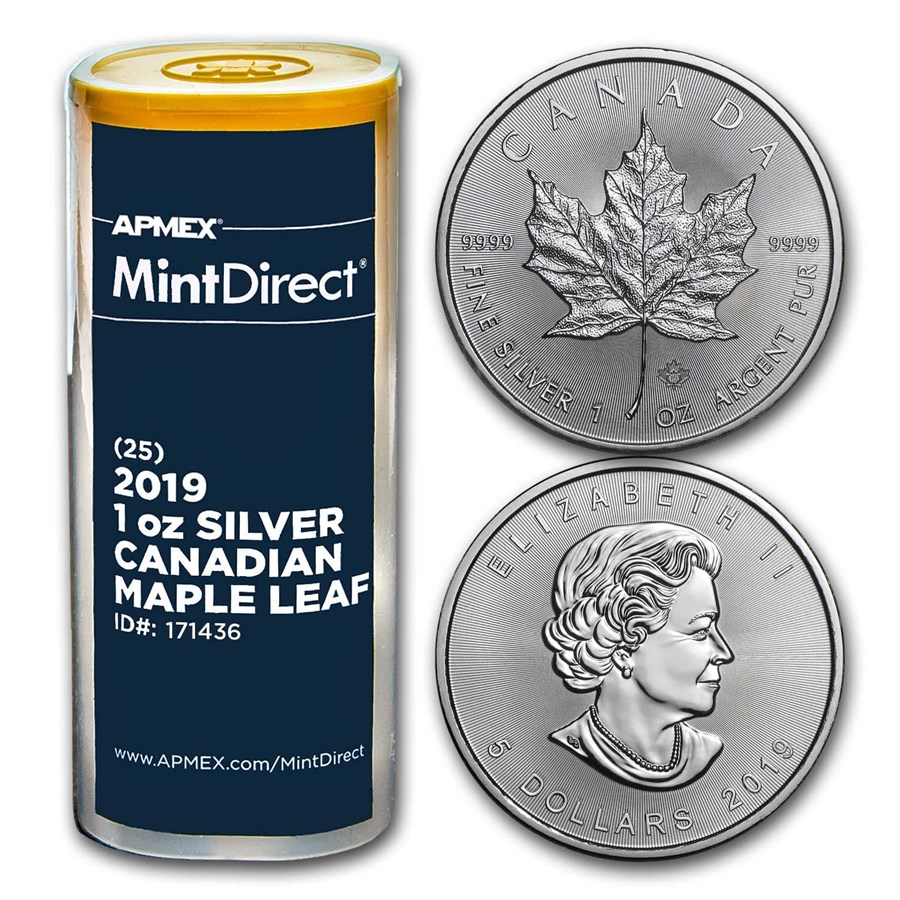 2019 Canada 1 oz Silver Maple Leaf (25-Coin MintDirect® Tube)