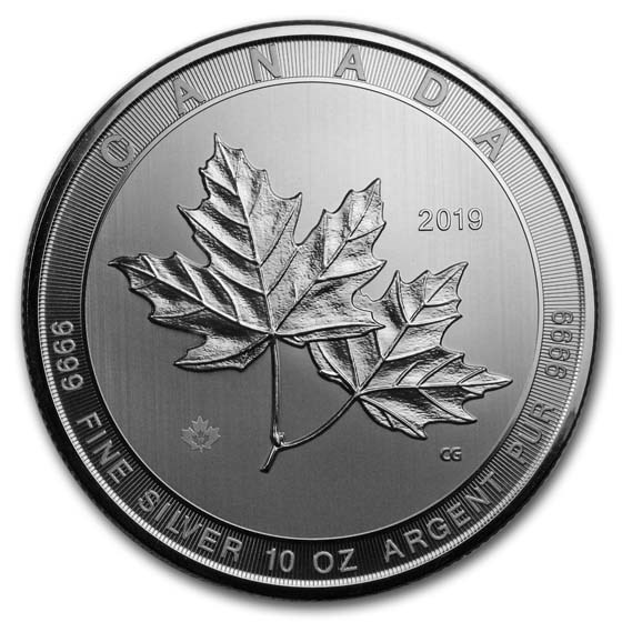 2019 Canada 10 oz Silver $50 Magnificent Maple Leaves BU
