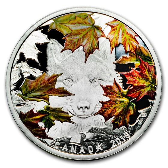 2019 Canada 2 oz Silver $30 Maples Leaves and the Wily Wolf