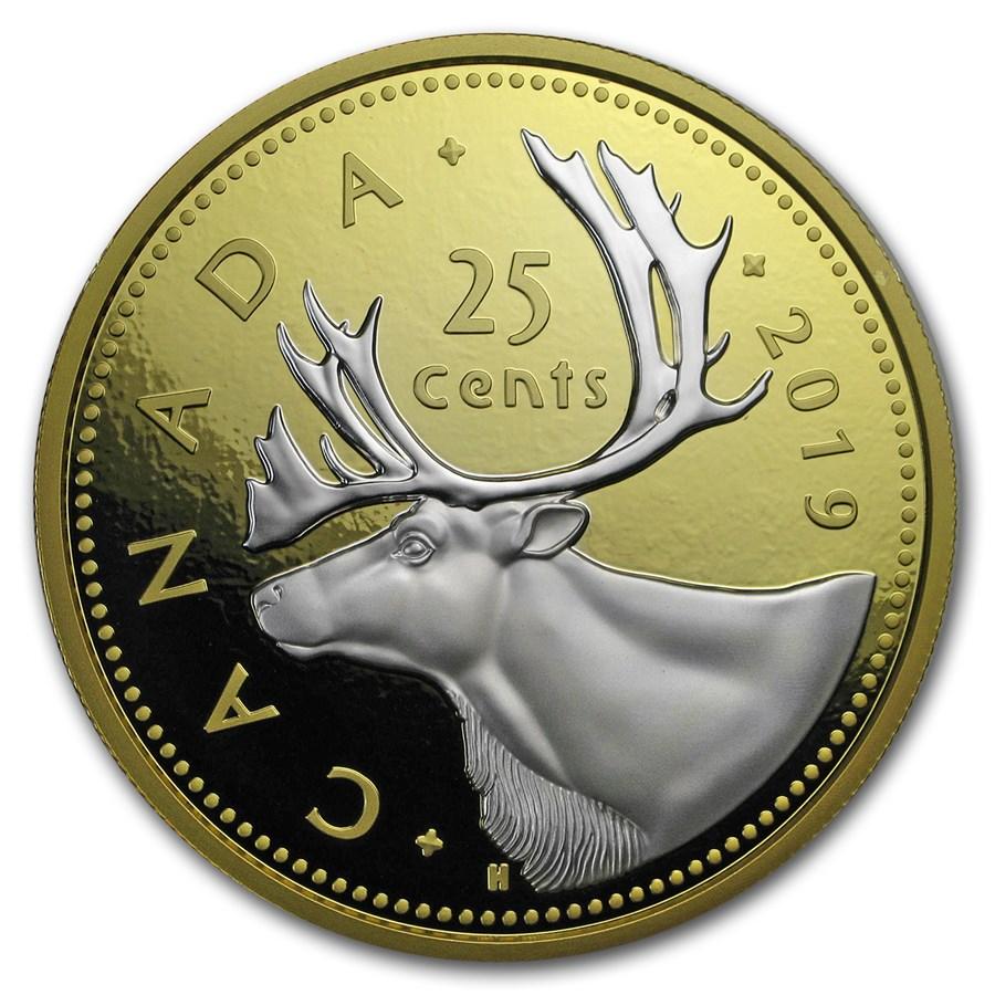 2019 Canada 5 oz Silver $1 Big Coin Series Caribou (25-Cent Coin)