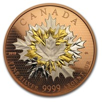 2019 Canada 5 oz Silver Maple Leaves in Motion: Rose Gold
