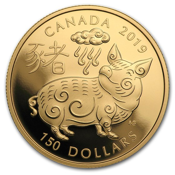 2019 Canada Gold $150 Year of the Pig Proof