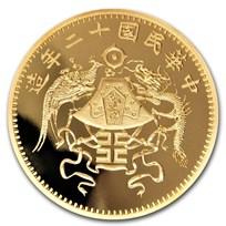 2019 China 1 oz Gold Dragon & Phoenix Dollar Restrike (PU)
