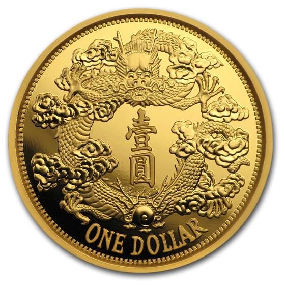 2019 China 1 oz Gold Tientsin Dragon Dollar Restrike (PU)
