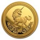 2019 China 1 oz Gold Unicorn 25th Anniversary Restrike (PU)