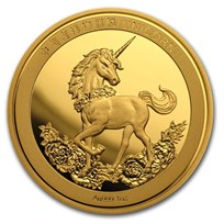 2019 China 1 oz Gold Unicorn 25th Anniversary Restrike (PU)