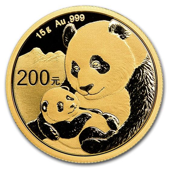 2019 China 15 gram Gold Panda BU (Sealed)