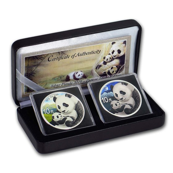 2019 China 2-Coin 30 gram Silver Colorized Panda Day/Night Set