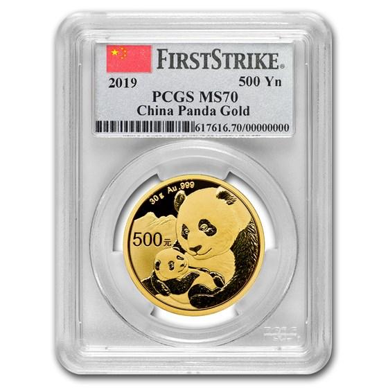 2019 China 30 Gram Gold Panda MS-70 PCGS (FS, Flag Label)