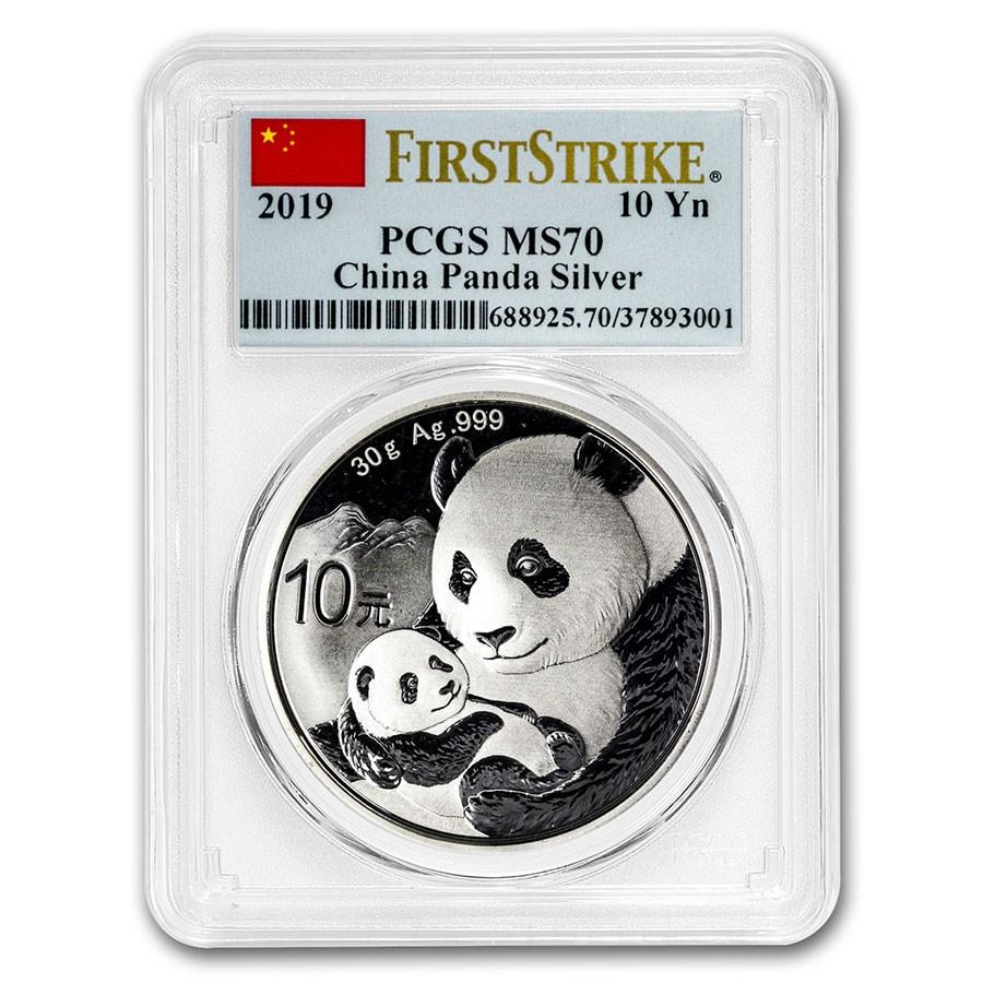2019 China 30 gram Silver Panda MS-70 PCGS (FS, Flag Label)