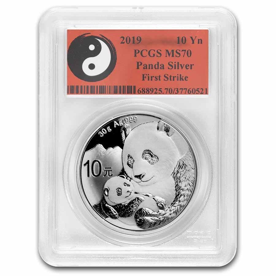 2019 China 30 gram Silver Panda MS-70 PCGS (FS, Yin-Yang)