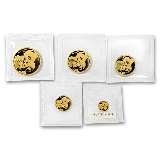 2019 China 5-Coin Gold Panda Set BU (Sealed)