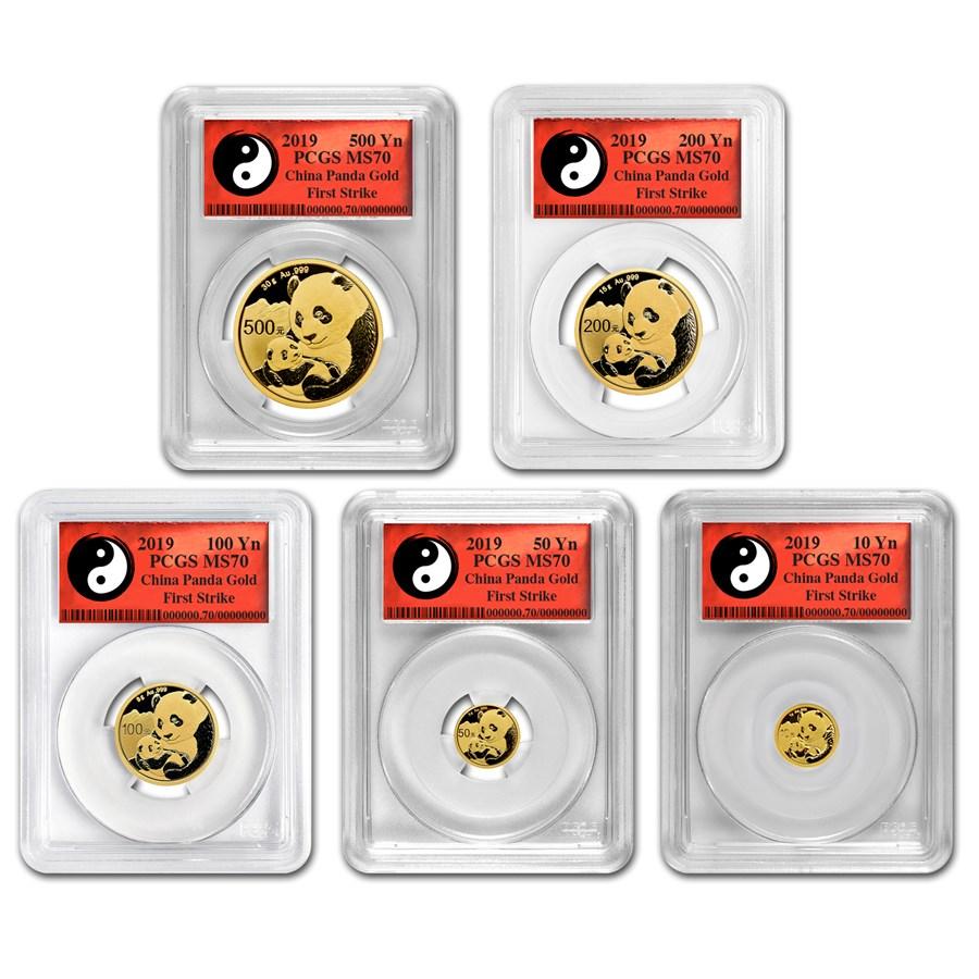 2019 China 5-Coin Gold Panda Set MS-70 PCGS (FS, Yin-Yang)