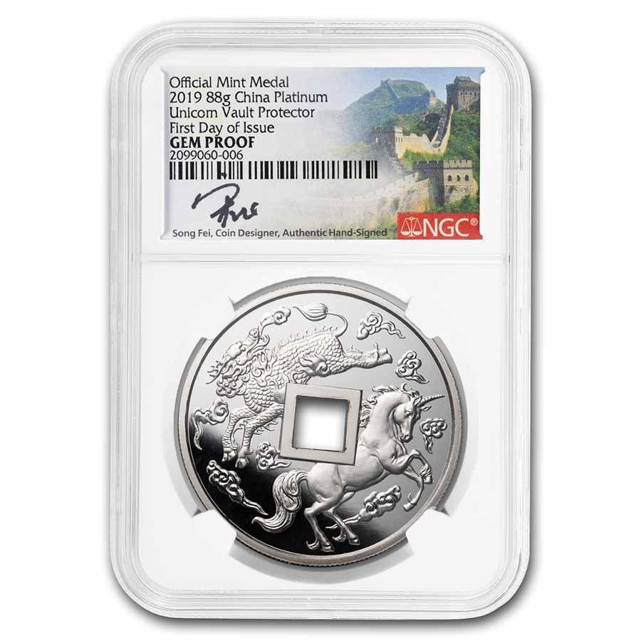 2019 China 88g Platinum Unicorn Cash Coin GEM Proof NGC (FDI)