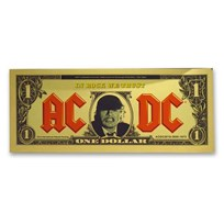 2019 Cook Islands 1/10 gram Gold AC/DC Foil Gold Note