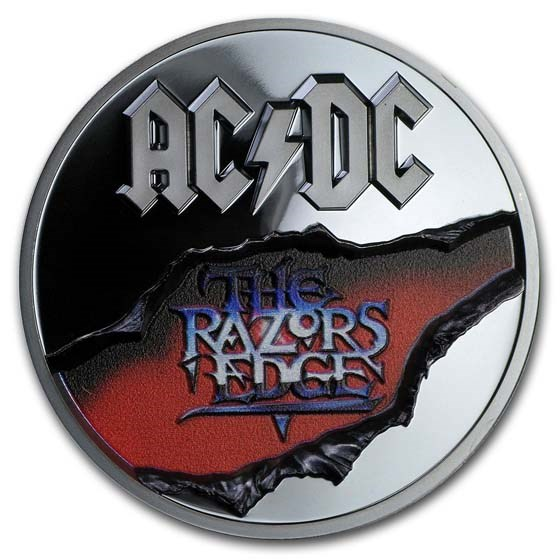 2019 Cook Islands 2 oz Silver AC/DC The Razor's Edge Black Proof