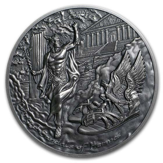 2019 Cook Islands 2 oz Silver UH Relief Winged Sandals of Hermes