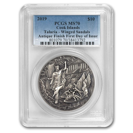 2019 Cook Islands 2 oz Silver Winged Sandals of Hermes MS-70 PCGS