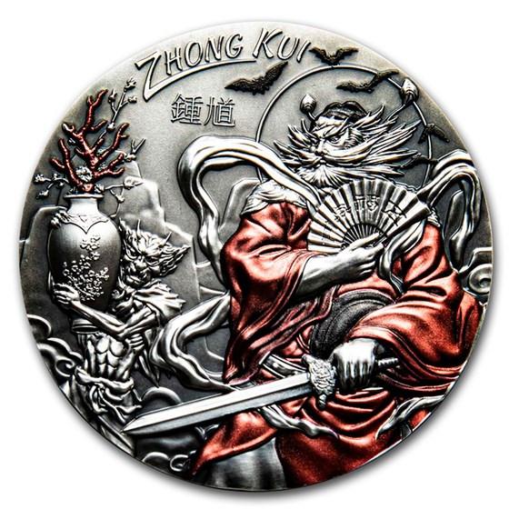 2019 Cook Islands 3 oz Antique Silver Asian Mythology: Zhong Kui