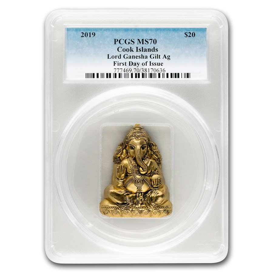 2019 Cook Islands 3 oz Silver Shaped Lord Ganesha MS-70 PCGS