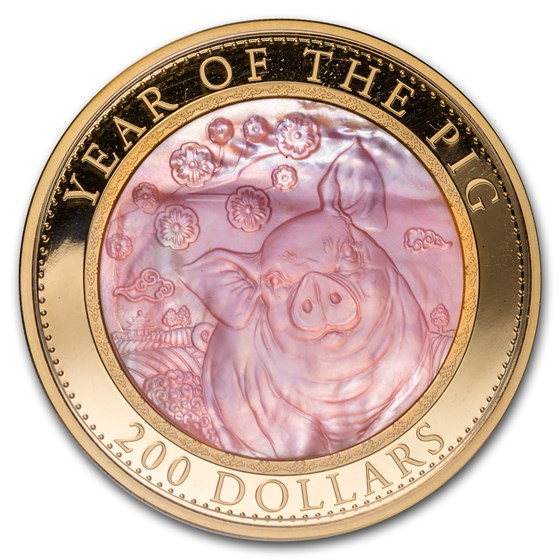 2019 Cook Islands 5 oz Gold Mother of Pearl Year of the Pig