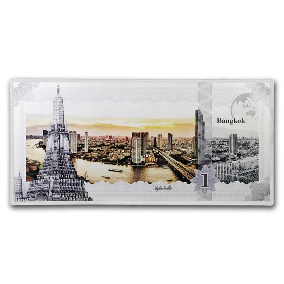 2019 Cook Islands Skyline Dollars Foil Silver Note Bangkok