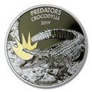 2019 Dem. Republic of Congo 1 oz Silver Crocodile with Color