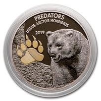 2019 Dem. Republic of Congo 1 oz Silver Grizzly Bear with Color