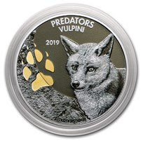2019 Democratic Republic of Congo 1 oz Silver Fox with Color