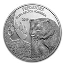 2019 Democratic Republic of Congo 1 oz Silver Grizzly Bear BU