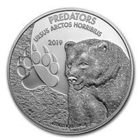 2019 Democratic Republic of Congo 1 oz Silver Grizzly Bear BU