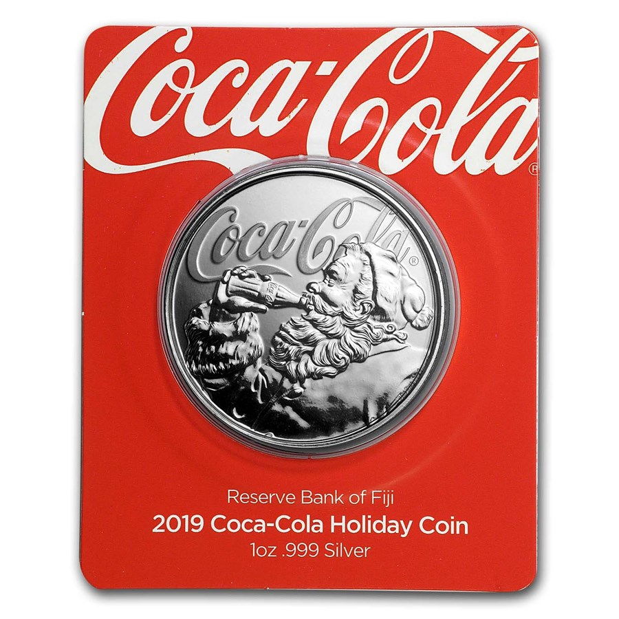 2019 Fiji 1 oz Proof Silver Coca-Cola Santa Holiday Coin