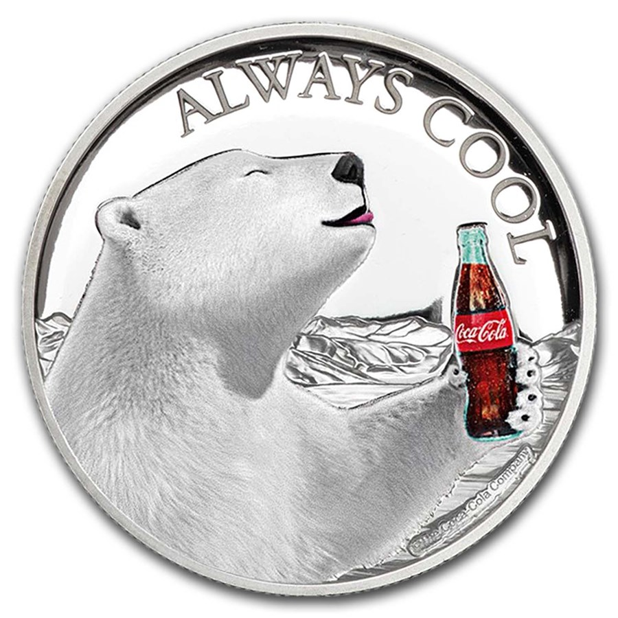 2019 Fiji 1 oz Proof Silver Cola-Cola Polar Bear HR