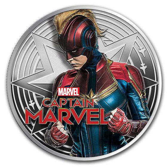 2019 Fiji 1 oz Silver Captain Marvel Proof
