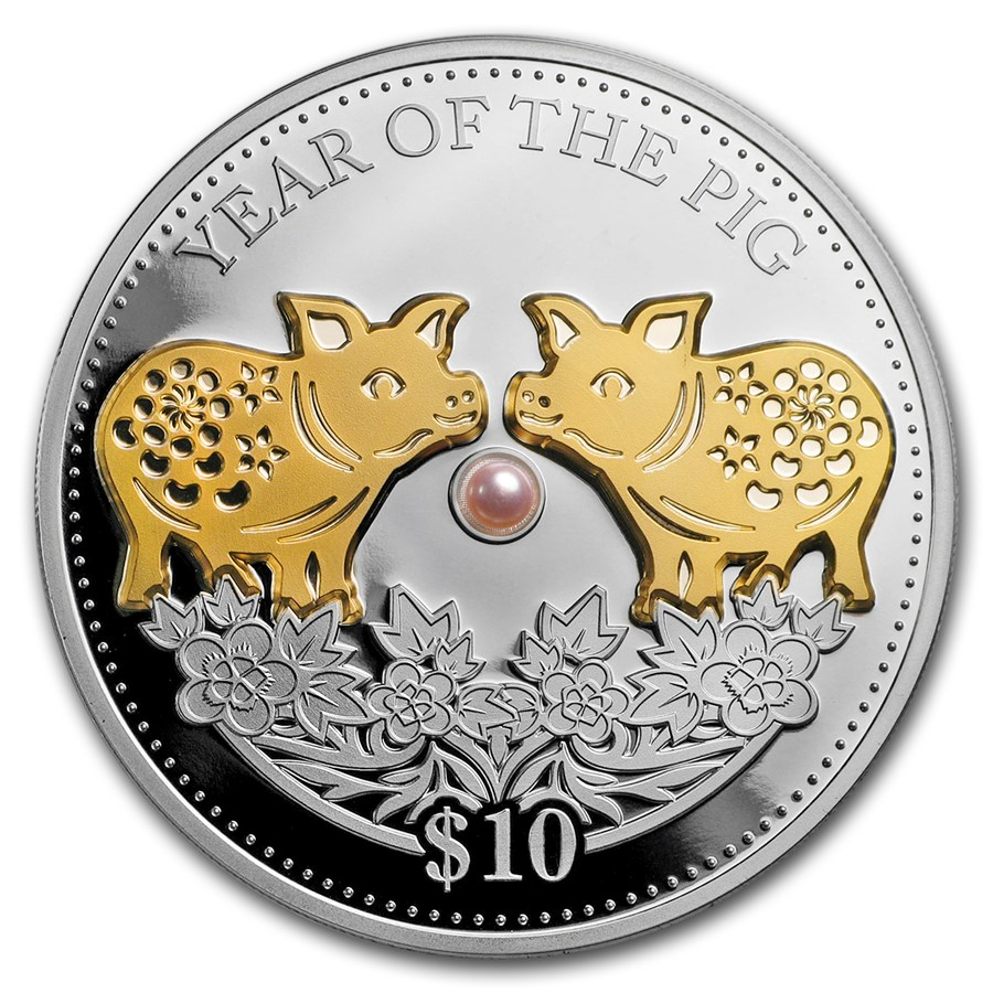 2019 Fiji 1 oz Silver Year of the Pig Proof (Gold Gilded w/Pearl)