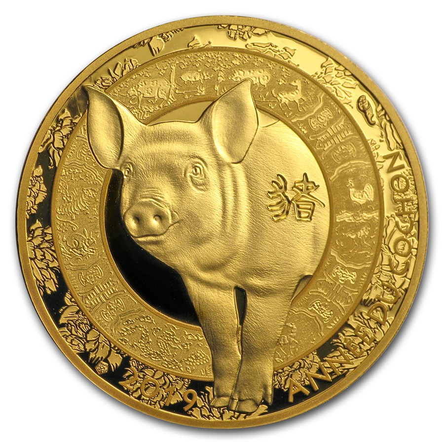 2019 France 1/4 oz Gold €50 Year of the Pig Proof (Lunar)