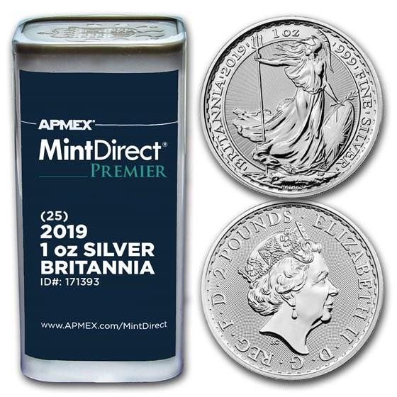 2019 GB 1 oz Silver Britannia (25-Coin MintDirect Premier® Tube)