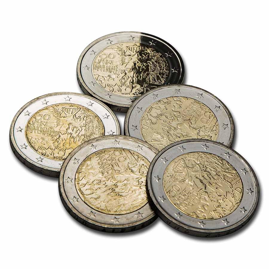 2019 Germany 2 Euro Fall of the Berlin Wall 5-Coin Set BU