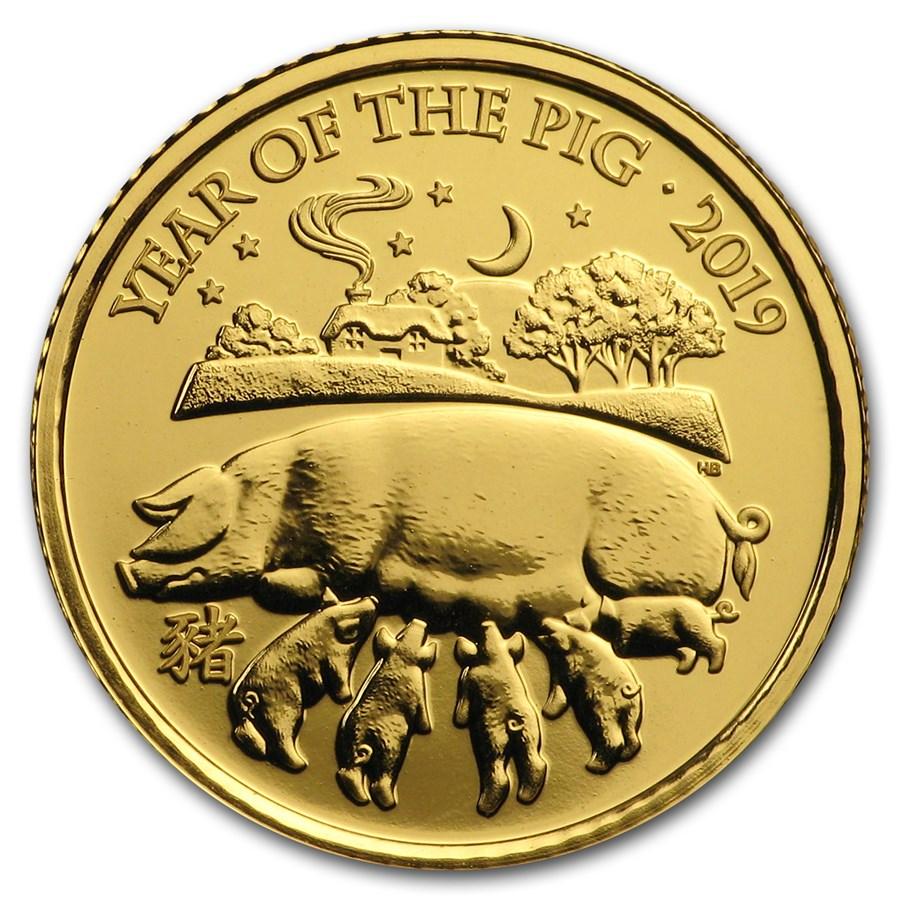 2019 Great Britain 1/10 oz Gold Year of the Pig BU (Box & COA)