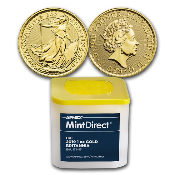 2019 Great Britain 1 oz Gold Britannia (10-Coin MintDirect® Tube)