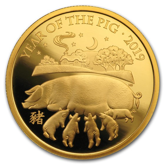 2019 Great Britain 1 oz Gold Year of the Pig Proof (Box & COA)