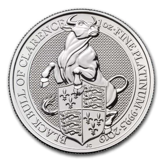 2019 Great Britain 1 oz Platinum Queen's Beasts The Bull