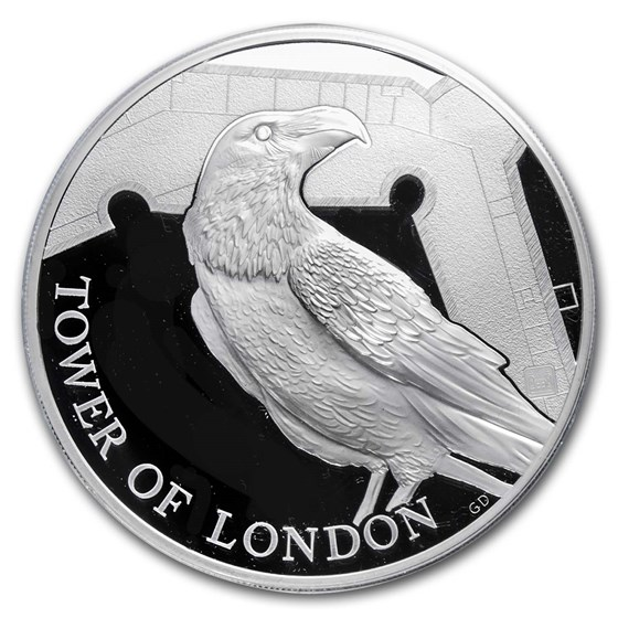 2019 Great Britain £10 5 oz Silver Proof Legend of the Ravens