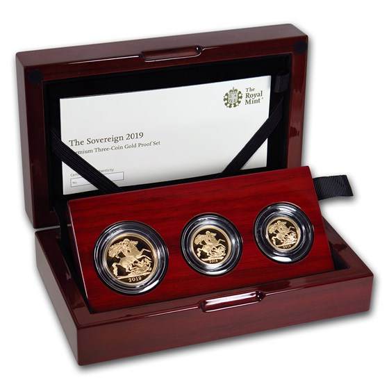 2019 Great Britain 3-Coin Gold Sovereign Premium Proof Set